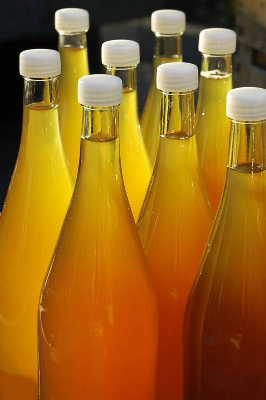 Bottles Poster featuring the photograph Apple Juice In Bottles by Matthias Hauser