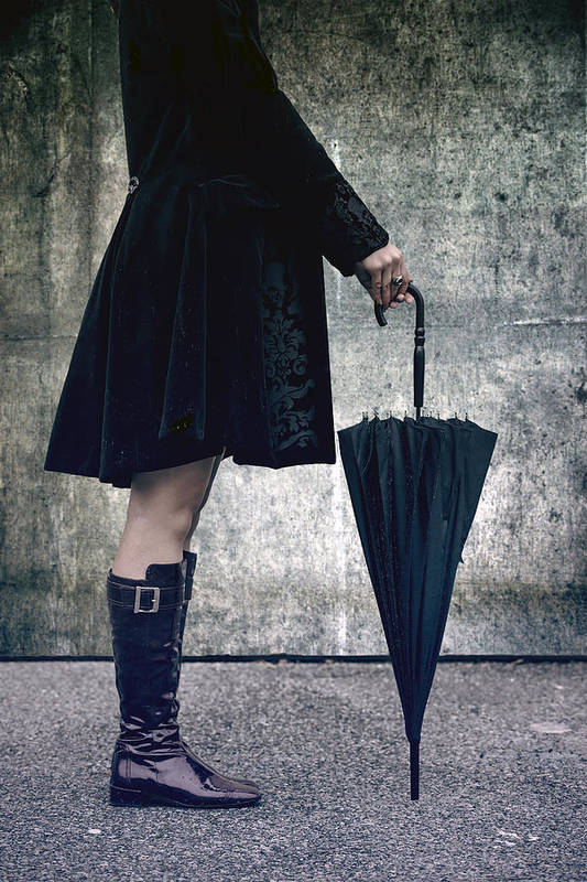 Woman Poster featuring the photograph Black Umbrellla by Joana Kruse