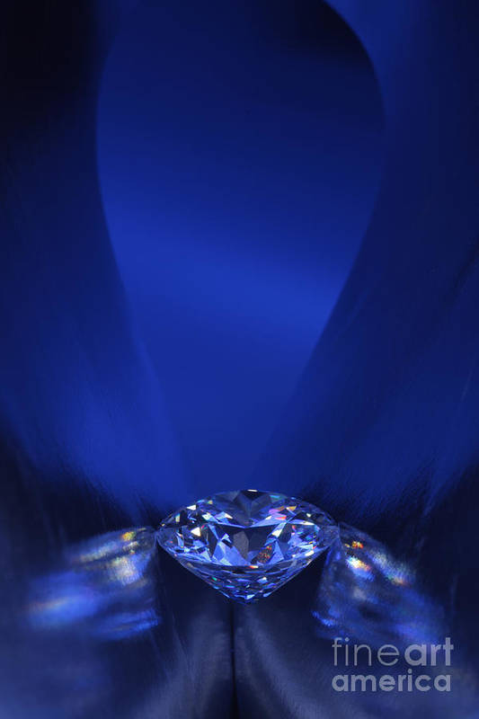 Abundance Poster featuring the jewelry Blue Diamond In Blue Light by Atiketta Sangasaeng