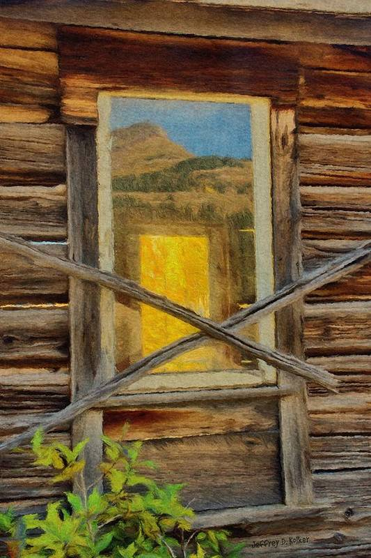 Cabin Poster featuring the painting Cabin Windows by Jeff Kolker