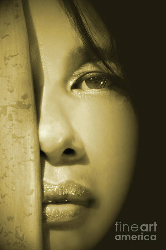 Adult Poster featuring the photograph Close-up Of A Beautiful Asian Woman by Sandra Cunningham