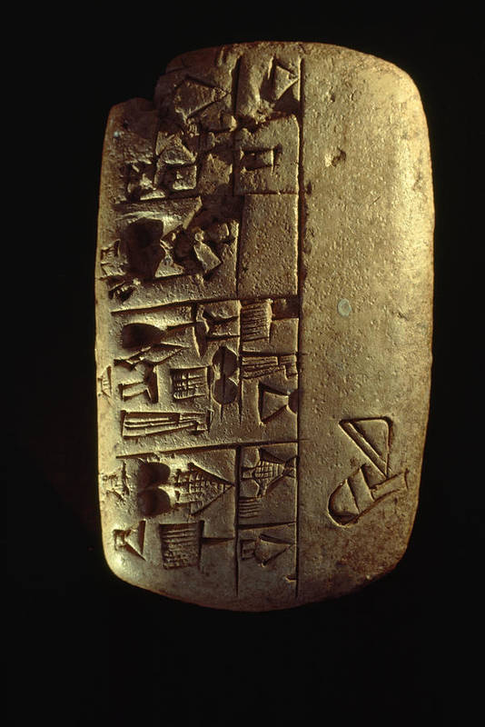 Day Poster featuring the photograph Cuneiform Writing Describes Commodities by Lynn Abercrombie