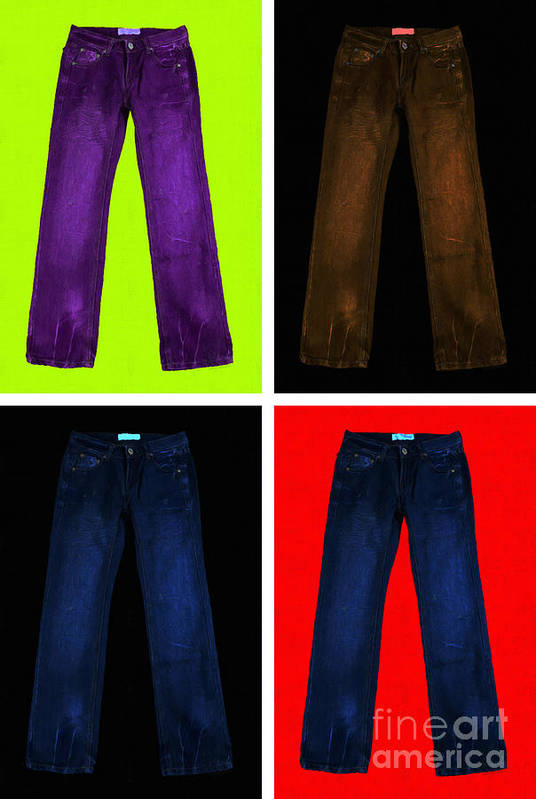Brown Poster featuring the photograph Four Pairs Of Blue Jeans - Painterly by Wingsdomain Art and Photography