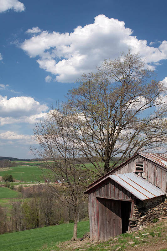 Tin Poster featuring the photograph Hillside Weathered Barn Dramatic Spring Sky by John Stephens