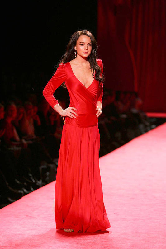 The Heart Truth Red Dress Fall 2006 Collection - Olympus Fashion Week Poster featuring the photograph Lindsay Lohan At Fashion Show For The by Everett
