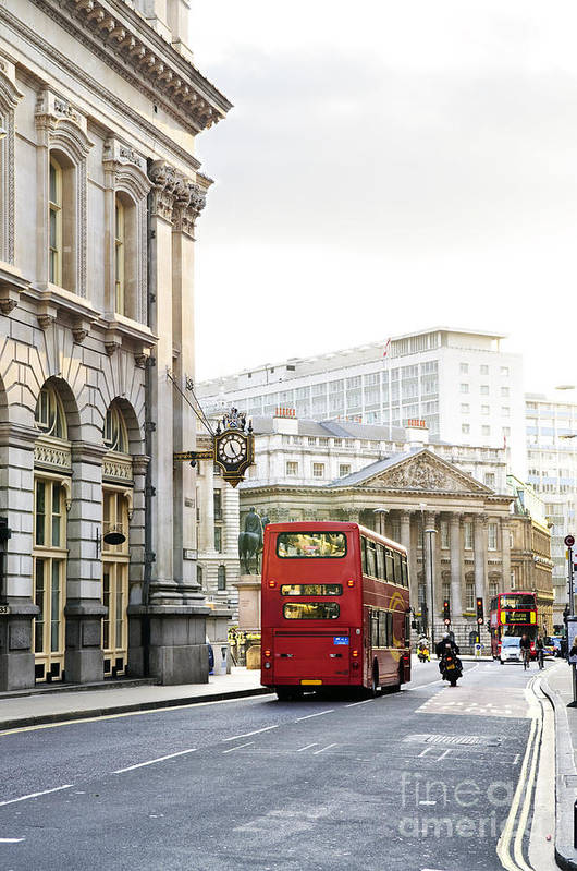 London Poster featuring the photograph London Street With View Of Royal Exchange Building by Elena Elisseeva