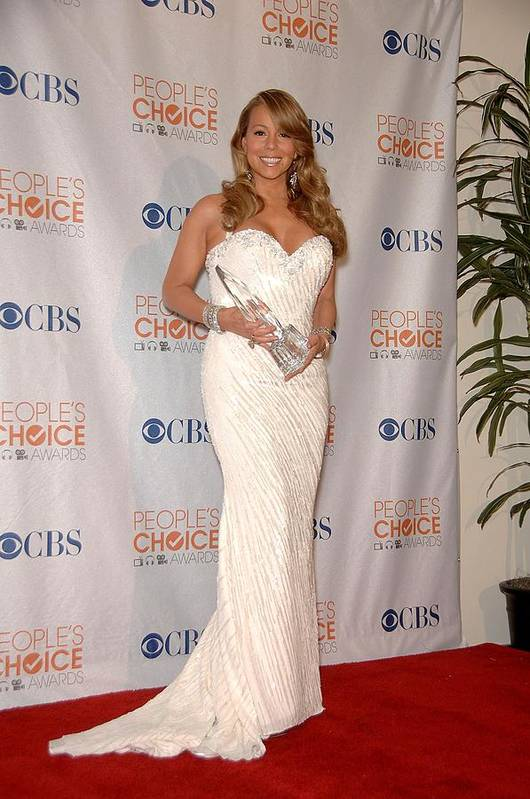 Mariah Carey Poster featuring the photograph Mariah Carey Wearing A Ysa Makino Gown by Everett