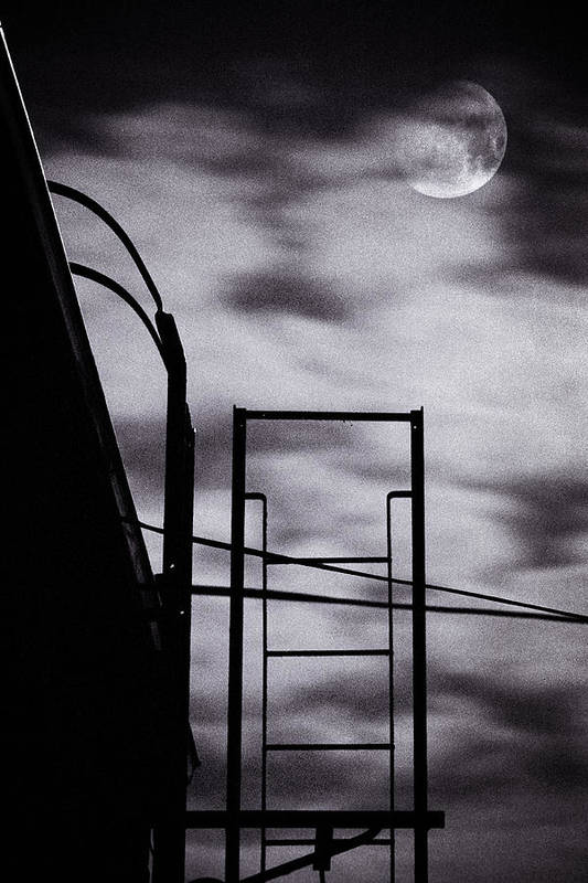 Brooklyn Poster featuring the photograph Moon Over Brooklyn Rooftop by Gary Heller