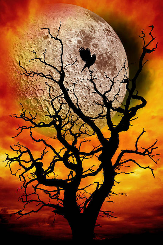 Surreal Poster featuring the photograph Nuclear Moonrise by Meirion Matthias