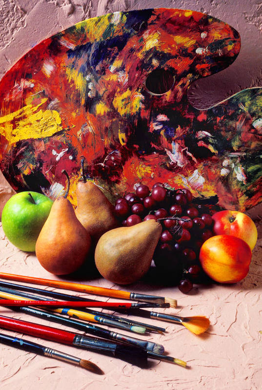 Painters Palette Brushes Fruit Poster featuring the photograph Painters Palette by Garry Gay