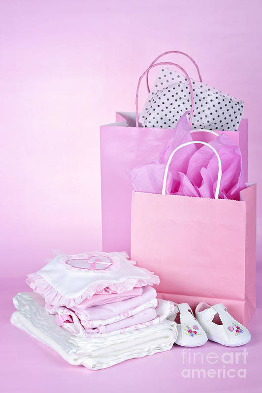 Baby Clothes Poster featuring the photograph Pink Baby Shower Presents by Elena Elisseeva