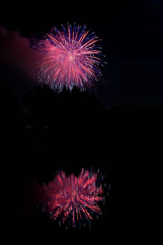 4th Of July Poster featuring the photograph Pink Fireworks by James BO Insogna
