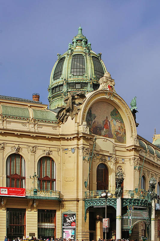 Obecni Dum Poster featuring the photograph Prague Obecni Dum - Municipal House by Christine Till