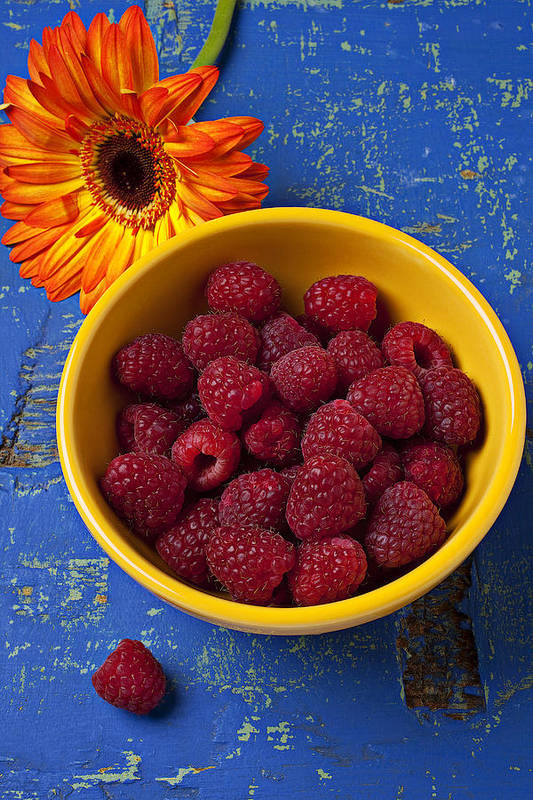 Raspberries Yellow Bowl Poster featuring the photograph Raspberries In Yellow Bowl by Garry Gay