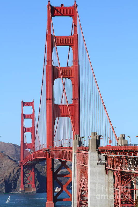 San Francisco Poster featuring the photograph San Francisco Golden Gate Bridge . 7d8164 by Wingsdomain Art and Photography
