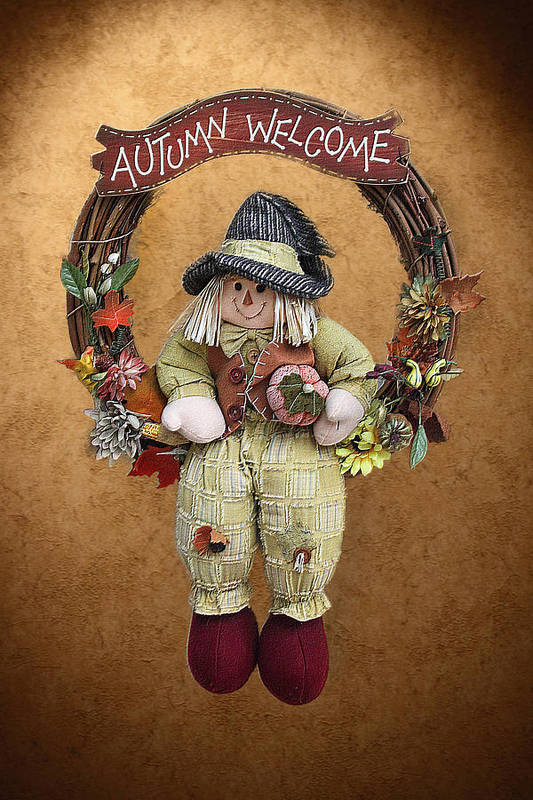 Seasonal Poster featuring the photograph Scarecrow On Autumn Wreath by Linda Phelps