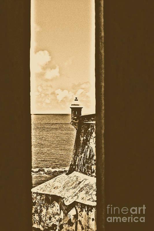 El Morro Poster featuring the digital art Sentry Tower View Castillo San Felipe Del Morro San Juan Puerto Rico Rustic by Shawn O'Brien
