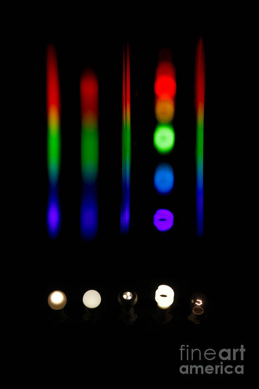 Atomic Poster featuring the photograph Spectra Of Energy Efficient Lights by Ted Kinsman
