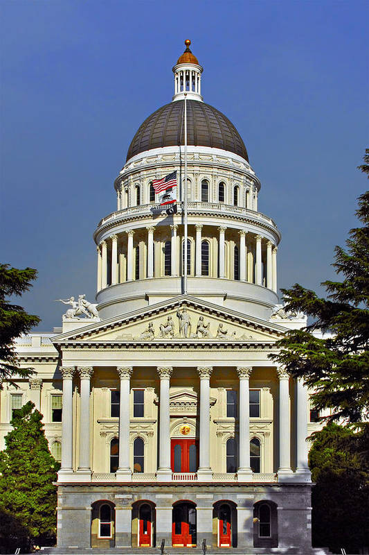 California Poster featuring the photograph State Capitol Building Sacramento California by Christine Till