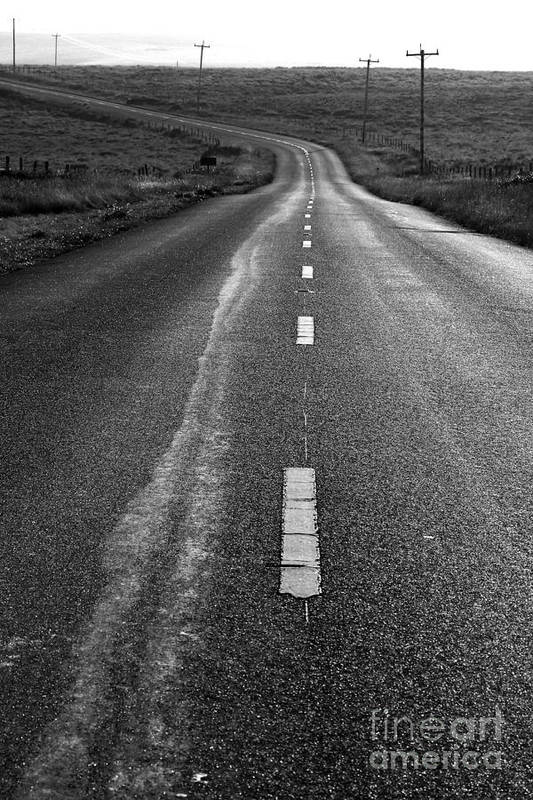 Philosophical Poster featuring the photograph The Long Road Home . 7d9898 . Black And White by Wingsdomain Art and Photography