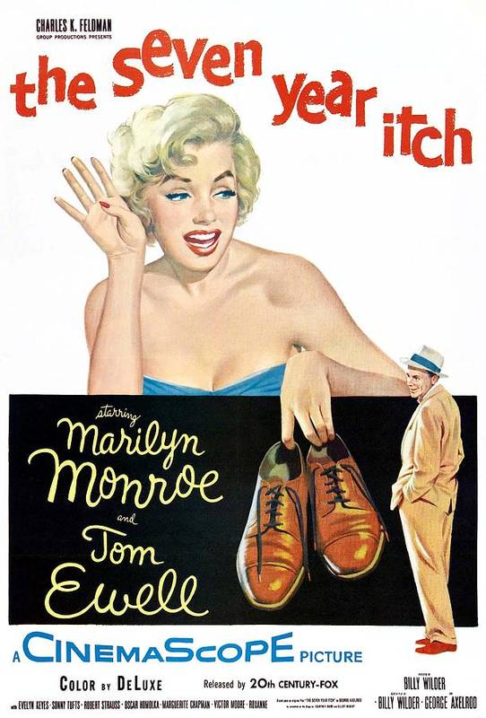 1950s Movies Poster featuring the photograph The Seven Year Itch, Marilyn Monroe by Everett