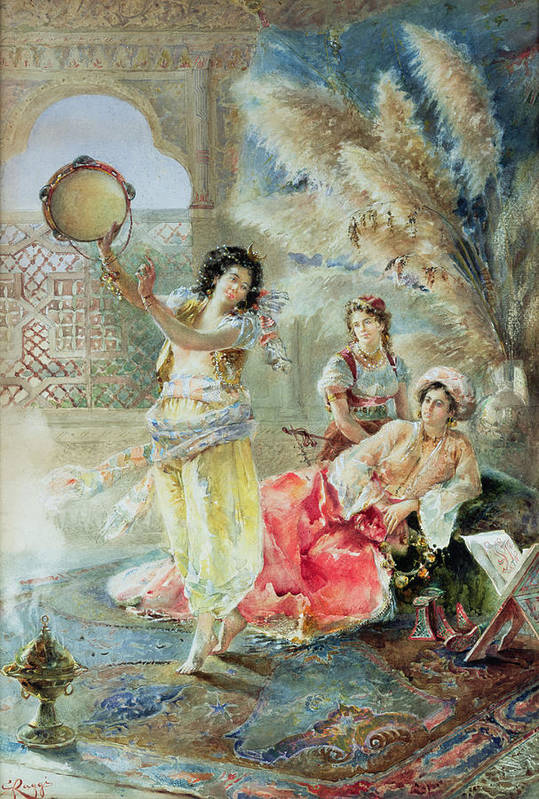 The Tambourine Poster featuring the painting The Tambourine by E Raggi