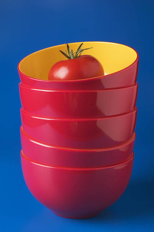 Tomato Poster featuring the photograph Tomato In Stacked Bowls by Garry Gay