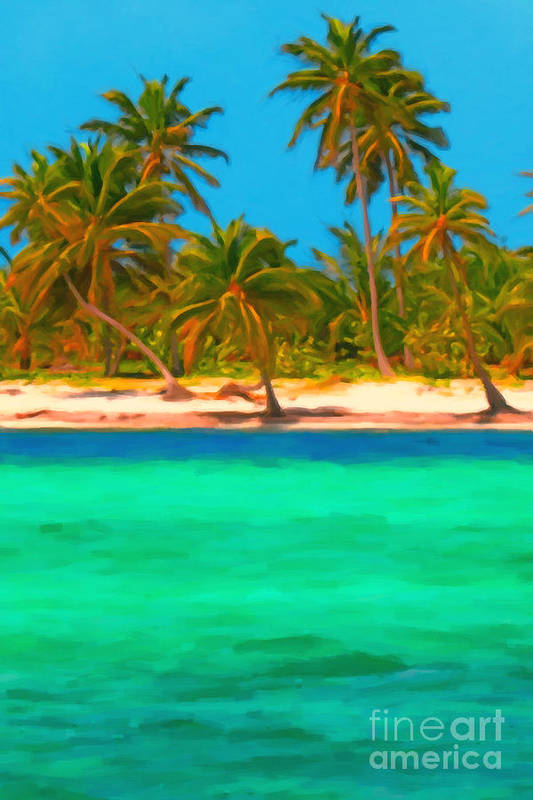 Tropical Island Poster featuring the photograph Tropical Island 5 - Painterly by Wingsdomain Art and Photography