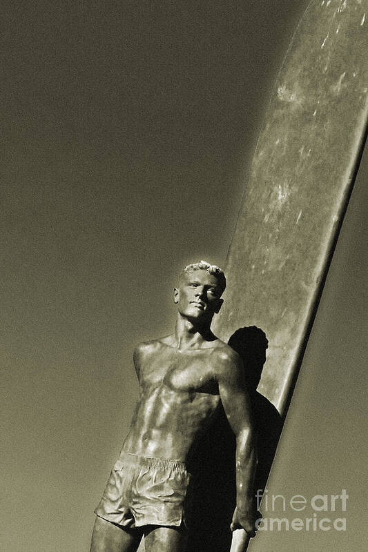 Santa Cruz Poster featuring the photograph Vintage Bronze Surfer by Paul Topp