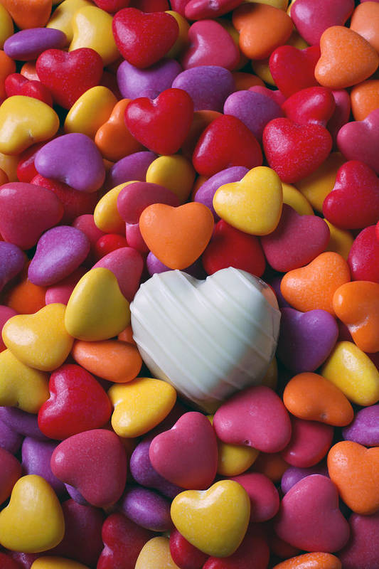 White Heart Candy Candies Love Poster featuring the photograph White Heart Candy by Garry Gay