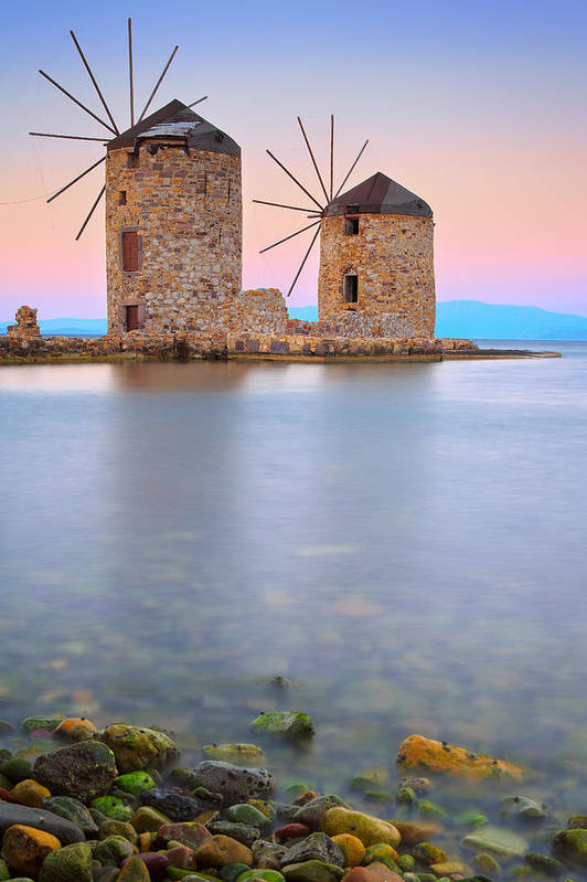 Xios Poster featuring the photograph Windmills by Emmanuel Panagiotakis