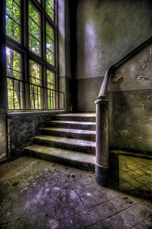 Abandoned Poster featuring the photograph Window And Stairs by Nathan Wright