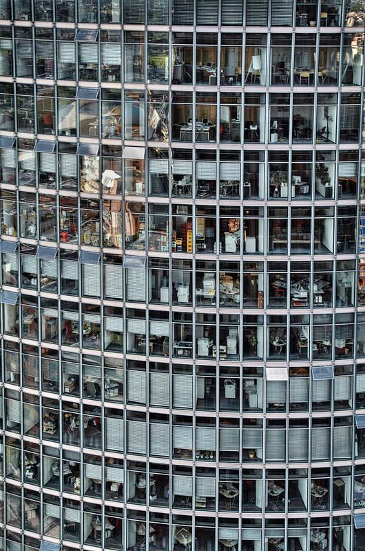 Vertical Poster featuring the photograph Windows Again, Berlin by Eike Maschewski