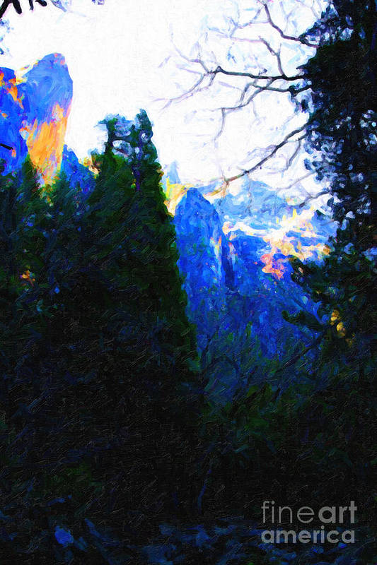 Landscape Poster featuring the photograph Yosemite Snow Mountain Tops . Vertical Cut by Wingsdomain Art and Photography