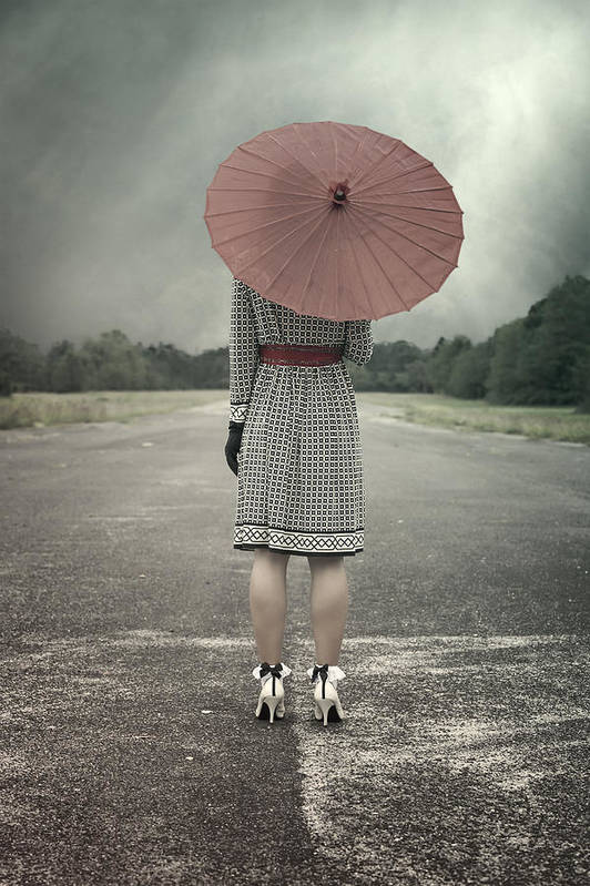 Woman Poster featuring the photograph Red Umbrella by Joana Kruse