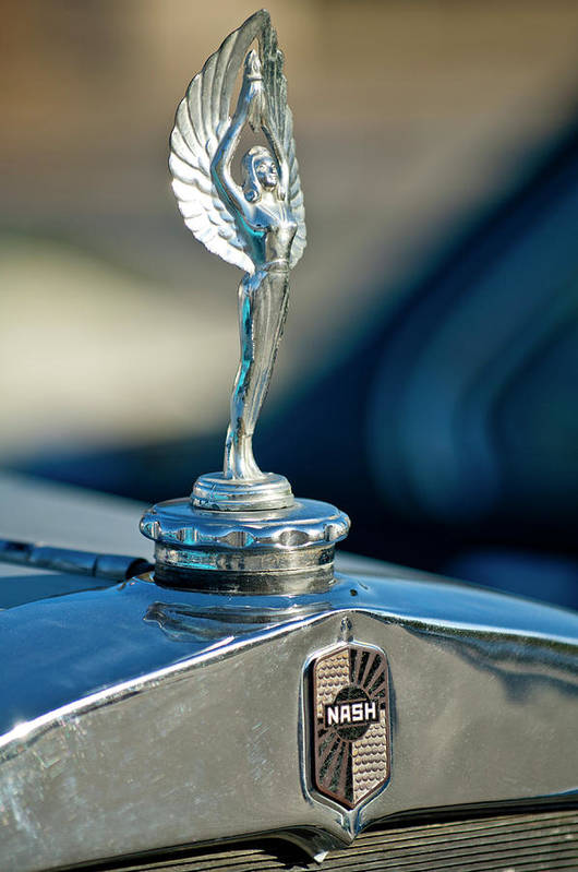 1928 Nash Coupe Poster featuring the photograph 1928 Nash Coupe Hood Ornament by Jill Reger