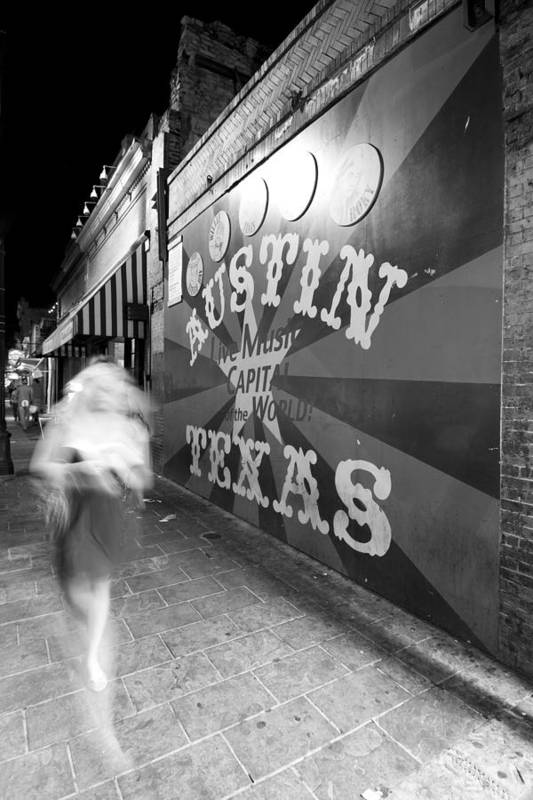 Austin Poster featuring the photograph 6th Street Mural Mono by John Gusky