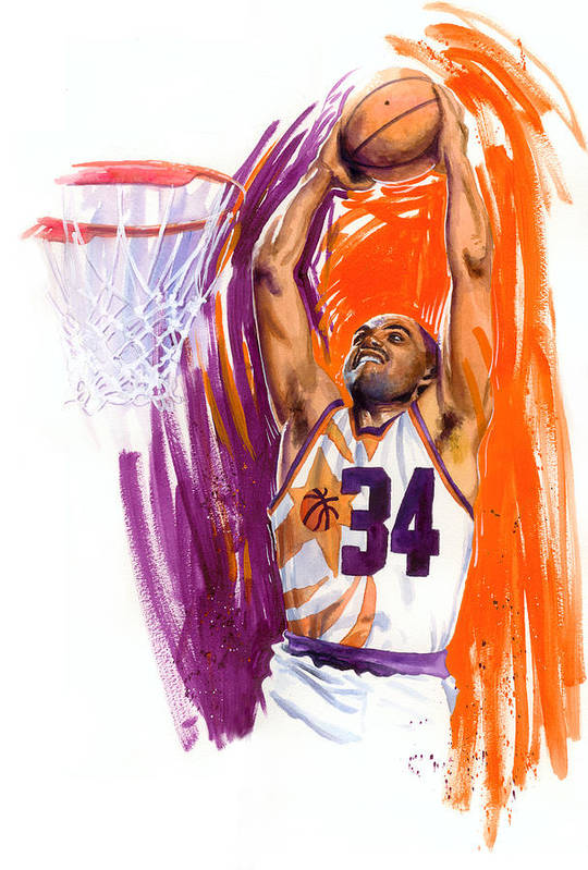 Charles Barkley Poster featuring the painting Barkley by Ken Meyer jr