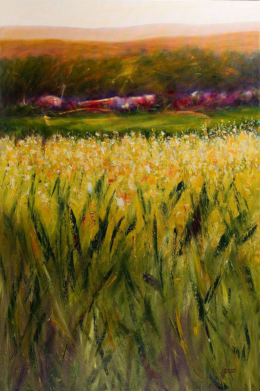Landscape Poster featuring the painting Beyond The Valley by Shannon Grissom