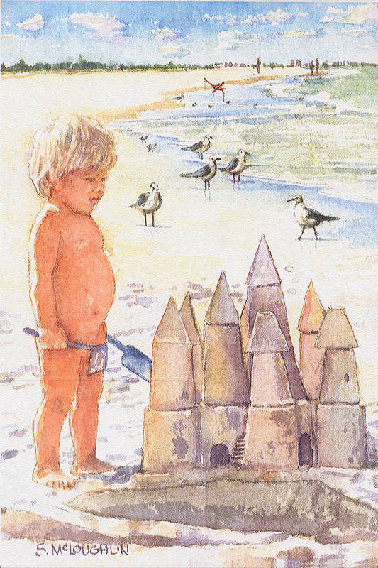 Siesta Key Poster featuring the painting Boy With Sandcastle by Shawn McLoughlin