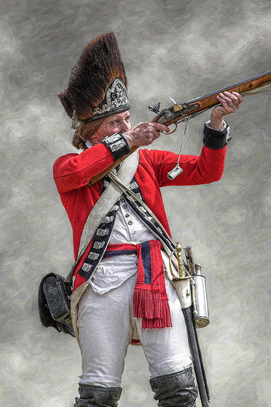 War Poster featuring the digital art British Redcoat Firing Musket Portrait by Randy Steele