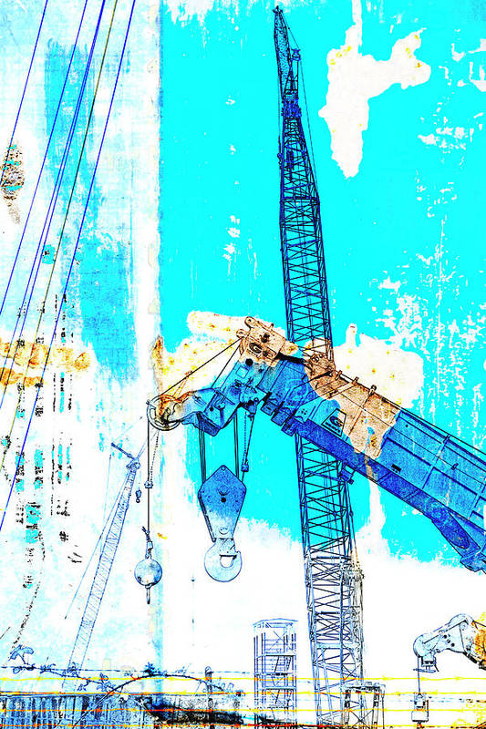 Shipyard Poster featuring the mixed media Building Boats by Carol Leigh