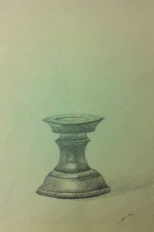 Pencil Poster featuring the ceramic art Candle Stand Study by Krishnamurthy S