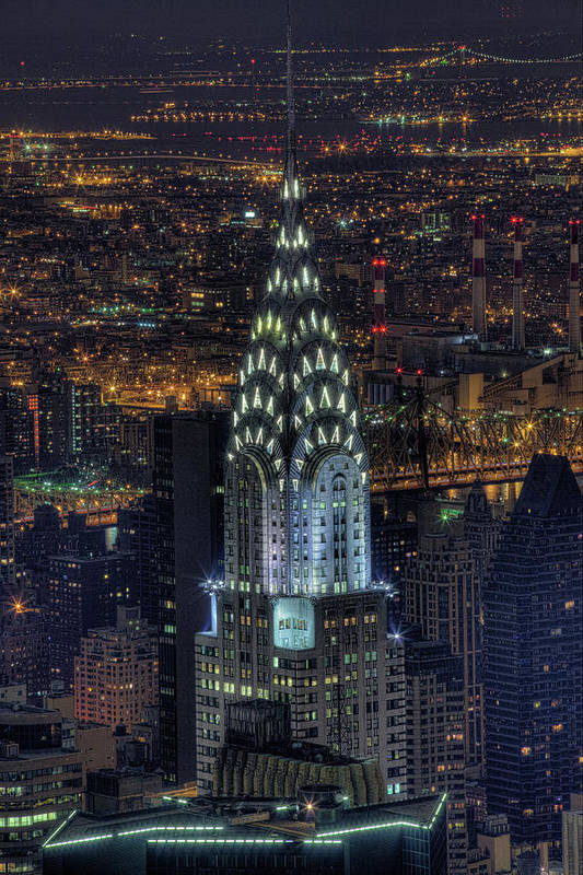 Vertical Poster featuring the photograph Chrysler Building At Night by Jason Pierce Photography (jasonpiercephotography.com)
