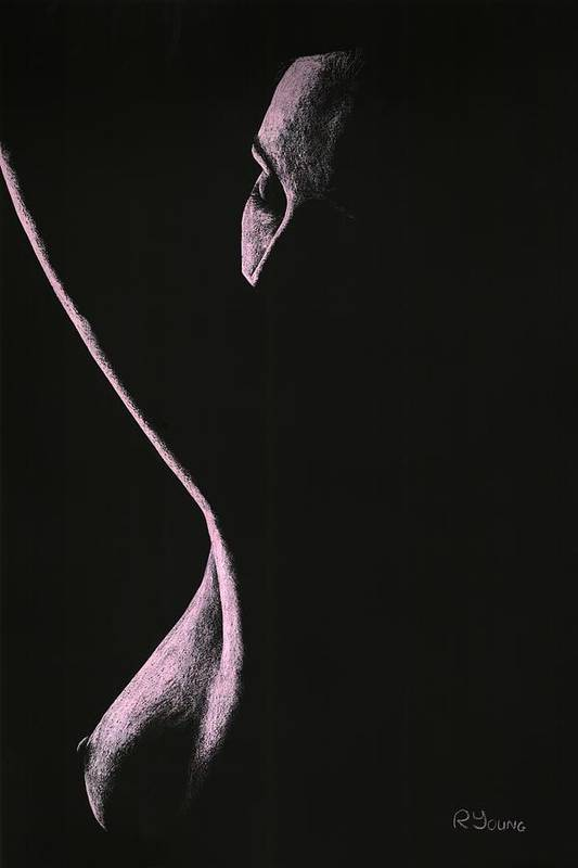 Nude Poster featuring the pastel Coercion by Richard Young
