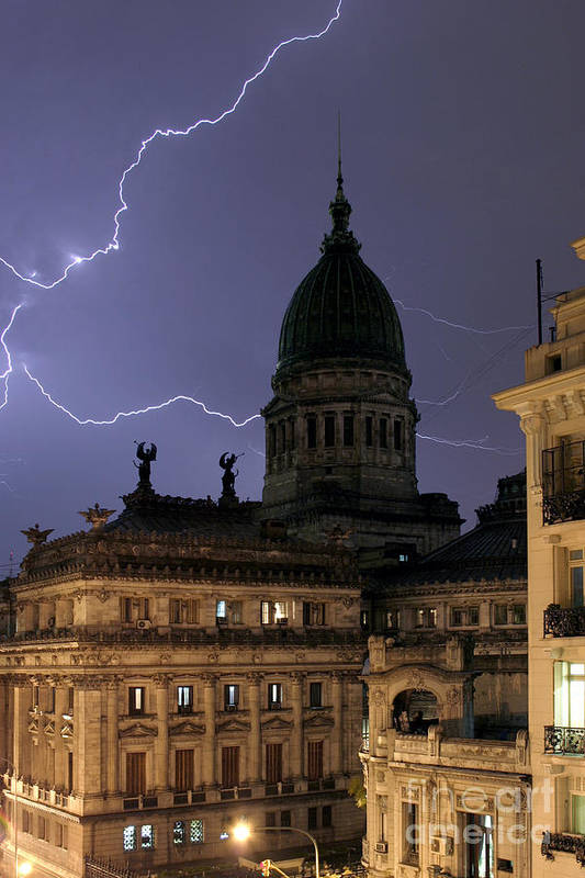 Landscape Poster featuring the photograph Congreso Lightning by Balanced Art