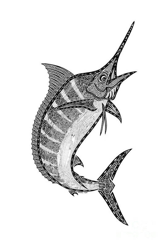 Marlin Poster featuring the drawing Crazy Marlin by Carol Lynne