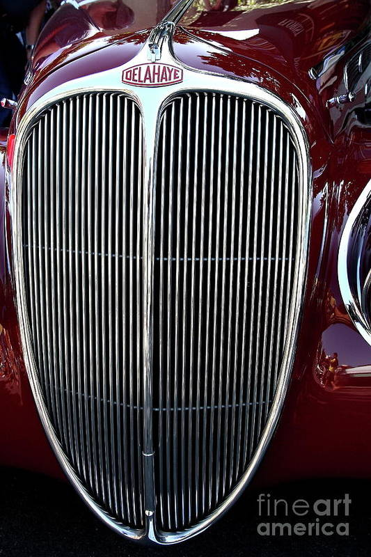 Car Poster featuring the photograph Delahaye Grille . 40d9459 by Wingsdomain Art and Photography