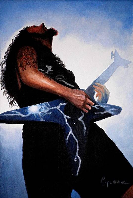 Dimebag Poster featuring the painting Dimebag Is Gd Electric by Al Molina