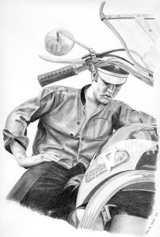 Singer Poster featuring the drawing Elvis Presley by Rob De Vries